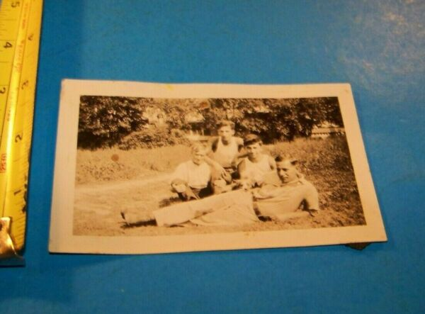 Vintage Photograph Young Men with Dog Look Close Vintage 1920#x27;s Rural $7.25
