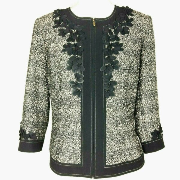 St. John Couture Jacket 10 Tweed Black Sparkle Applique Flowers Zip 3 4 Sleeve