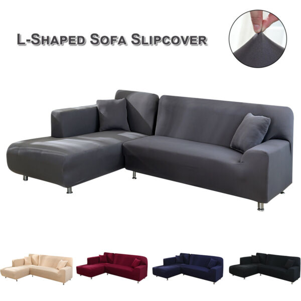 Couch L Shape Polyester Solid Sectional Corner Stretch Slipcover Sofa Cover Soft $32.49