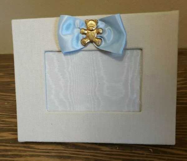 Baby boy picture Frame bone burlap frame with gold crown. 4x6 pic sz