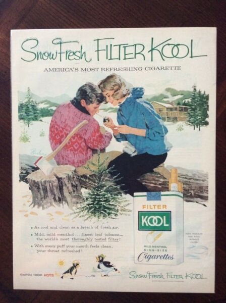 1959 vintage Original color ad Kool Cigarettes Snow Filter fantastic condition