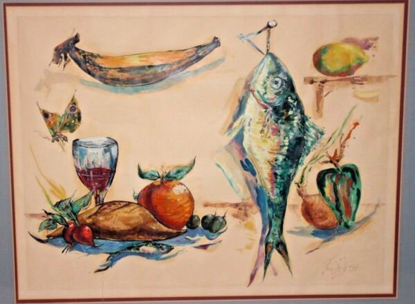 Leon Kelly of PA & NJ Surrealist Artist Fish & Produce Watercolor Painting