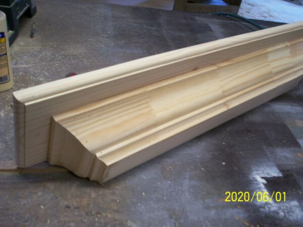SOLID PINE 72X7X4 INCH FLOATING WALL SHELF SCONCE NO SKIRT 4 INCH CROWN MOLD