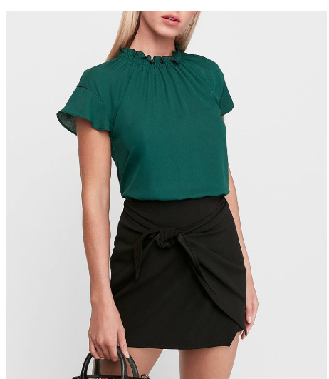 EXPRESS RUFFLE MOCK NECK TOP IN DEEP TEAL New With Tags