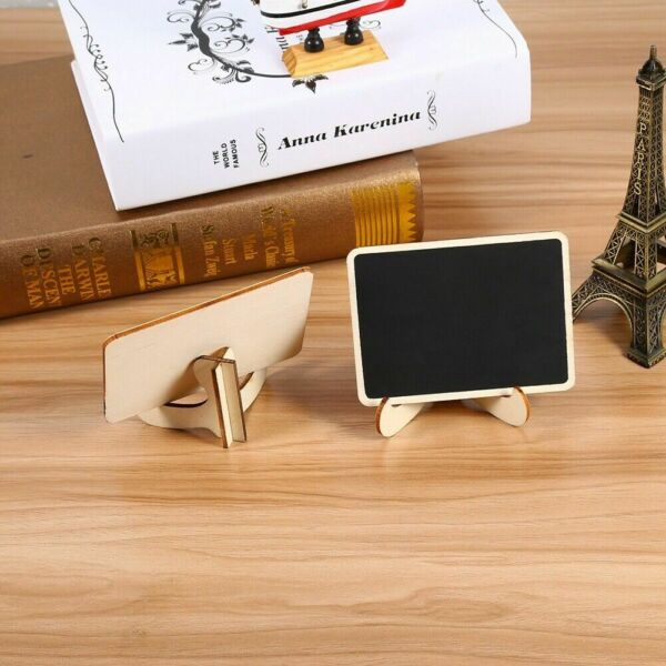 10Pcs Wooden Mini Chalk Blackboard Sign Message Memo Boards Signs Home Office US