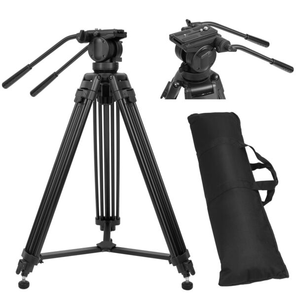 Professional Heavy Duty Camcorder Camera Tripod Stand with Fluid Head For Camera