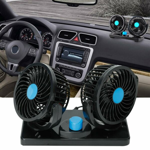 12V Dual Head Car Fan Portable Vehicle Truck 360° Rotatable Auto Cooling Cooler
