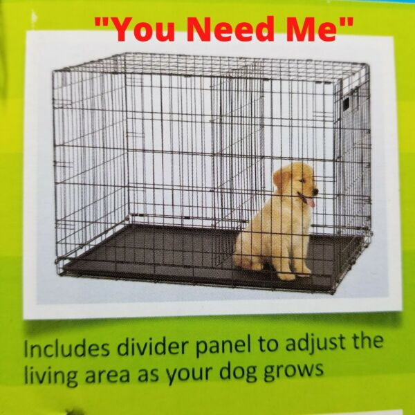 36quot; 2 Dog Pet Cage Folding Large Crate w Divider Cat Crate Kennel w Tray Rabbit