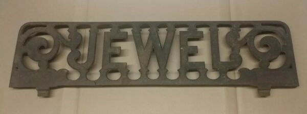 Antique Cast Iron Jewel Stove Sign Plate Shelf Match Striker SignCollectable