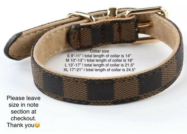 Brown Checkered High Quality Luxury Dog or Cat Pet  collar ONLY  $25.99