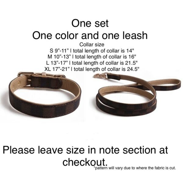 Brown Checkered pattern Adjustable Luxury Dog or Cat Pet Collar AND Leash  $39.99