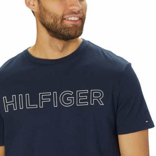 NWT Tommy Hilfiger Men#x27;s Short Sleeve Tee Dark Blue Logo Graphic T Shirt MEDIUM $17.99