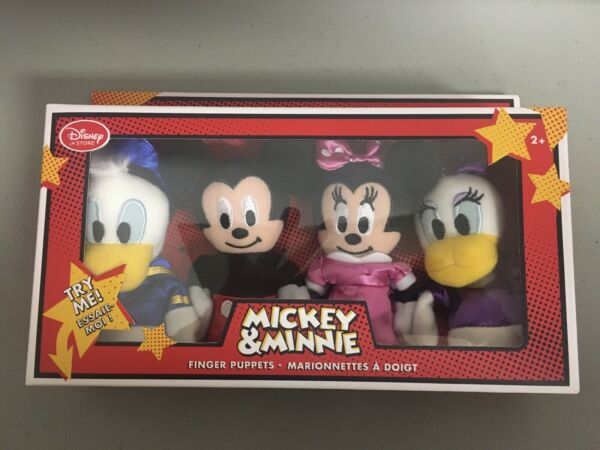 Disney Store Exclusive Mickey Minnie Donald and Daisy Finger Puppets Set - NEW