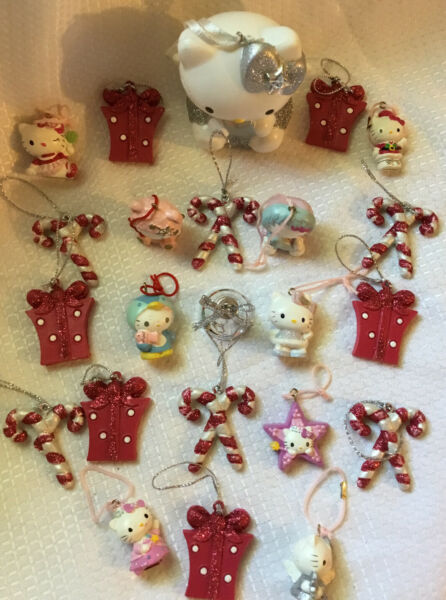 Hello Kitty Christmas Tree Ornaments 76 06 Sanrio Lot Of 23 PRE OWNED