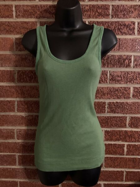 SO Juniors Tank Green Ribbed Stretch Large