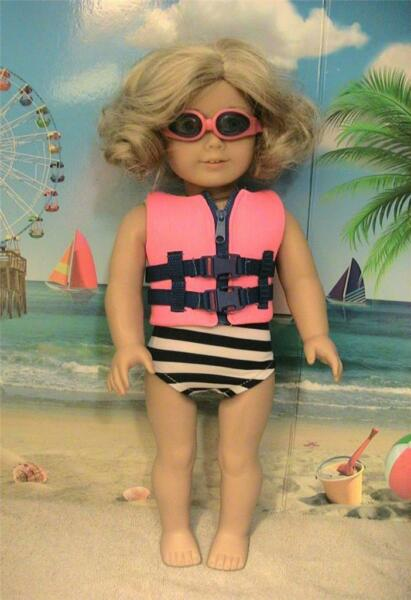 Swim Suit with Life Jacket and Goggles for 18 inch Dolls