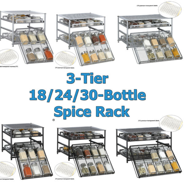 3 Tier Kitchen Storage Spice Rack Drawer 18 24 30 Pantry Cabinet Organizer