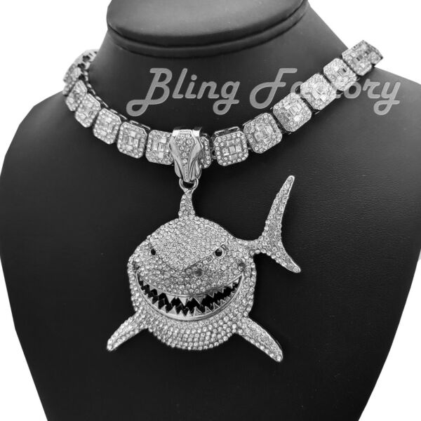 Large Shark 6ix9ine Pendant amp; 16quot; 18quot; Full Iced Choker Bust Down Chain Necklace $45.59