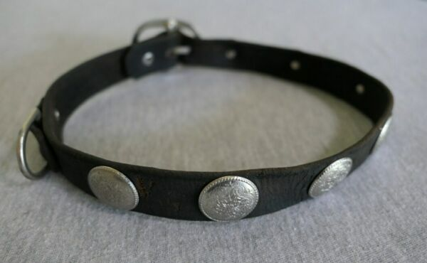Medium Large Dog Leather Collar w Silver Conchs Buckle Closure 1quot; W 21quot; L $9.99