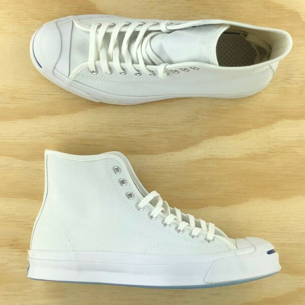 Converse Jack Purcell JP Signature High Top Triple White Sneakers 153591C Size 8