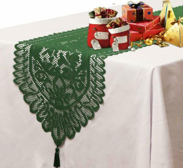 Rectangle Table Runners Lace Crochet Embroidered w Tassels for Holiday Wedding