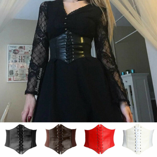 Women's Waist Cincher Corset Wide Waistband Leather Elastic Tied Waspie Belt New