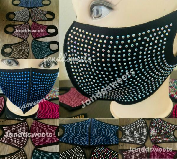 Reusable Rhinestone Face Mask Washable Sparkly Cover Mouth Nose Fashion Dazzle $9.95