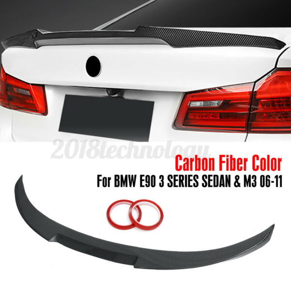 Carbon Fiber Color Trunk Spoiler Wing M4 Style For BMW E90 3 Series Sedan 06-11