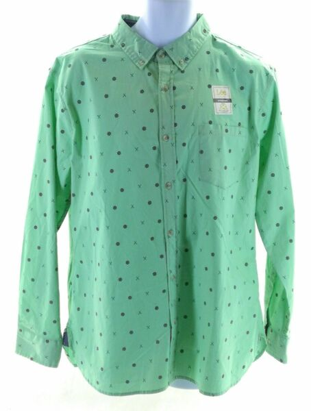 Lee Shirt Mens Size Large Mint Green With Navy Nautical Pattern Long Sleeve $21.60