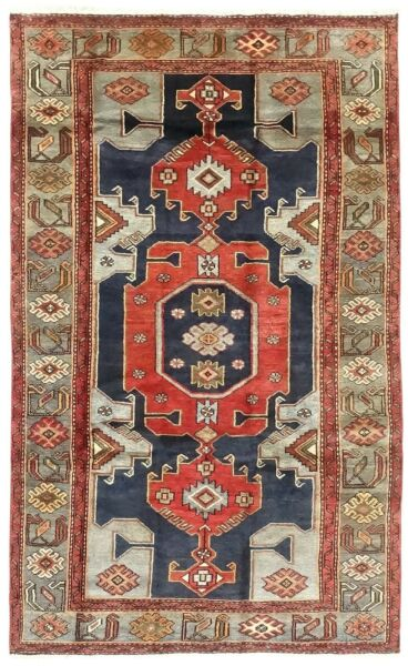 Hand Knotted Tarom Tribal Wool Navy Rust Blue Nomadic Oriental Rug 4'2