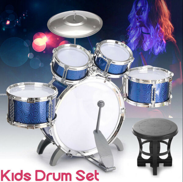 Full Kids Drum Set  ~ Cymbals Stands Throne Blue Silver Boys Girls Drum