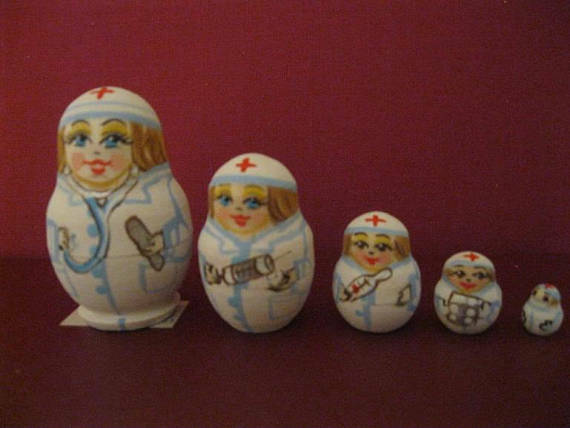 NURSES. Great Gift Quality Russian Nesting Dolls 5pc Wood set. Only 2 14