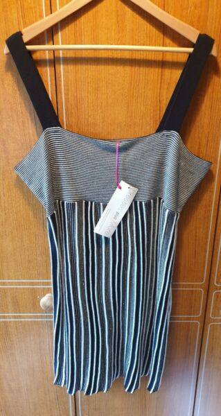 LADIES DOROTHY PERKINS STRAPPY KNIT STYLE SUMMER DRESS BLACKWHITE + TAGS 18 $9.97