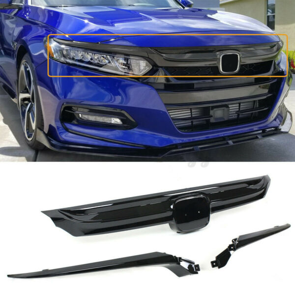 For 2018-20 10th Honda Accord Glossy Black Chrome Trim Sport Style Front Grille