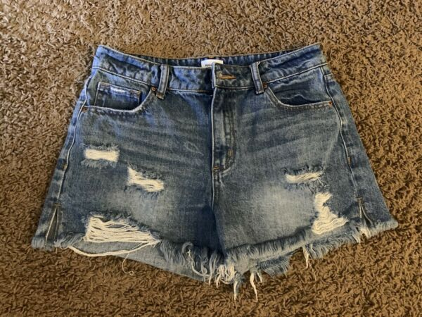 VICI Dolls Special A Distressed High Rise Jean Shorts Small
