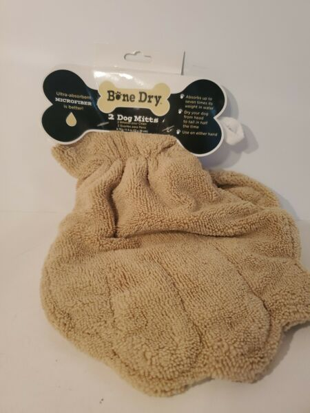 BONE DRY 2 Microfiber Dog Mitts Ultra Absorbent Reusable 8.75quot; x 11.5quot; D1 $14.97