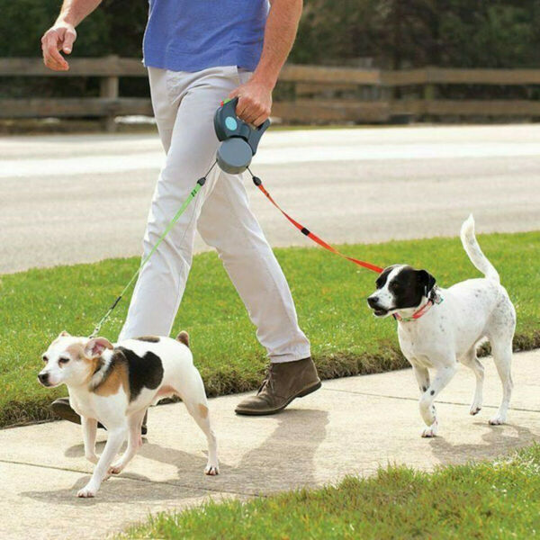 Automatic Retractable Leash Double Dog Belt Pet Chain Traction Rope Two headed $21.62