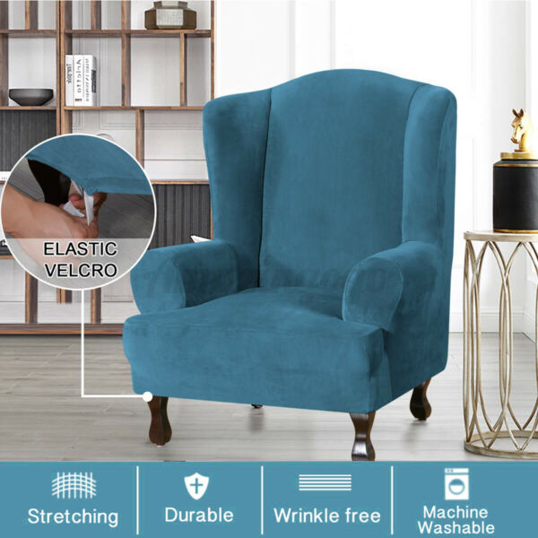 43#x27;#x27; Stretch Elastic Wingback Armchair Cover Wing Chair Slipcover Sofa $23.91