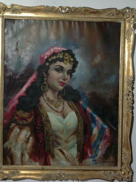 ORIGINAL QUALITY ART REMO CAPONE (1909-1968) GYPSY WOMAN LISTED IN NICE FRAME