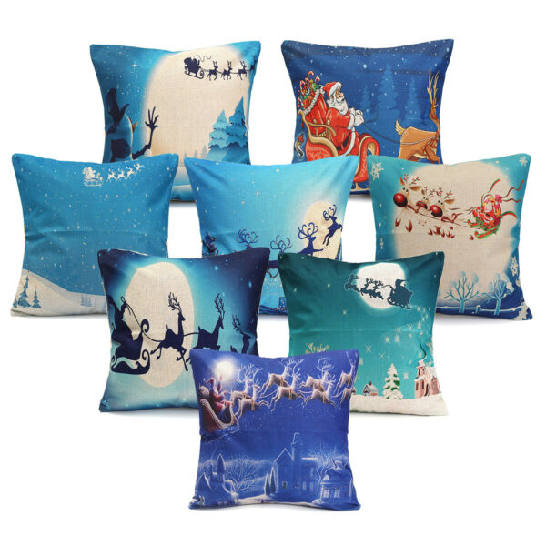 Christmas X#x27;mas Linen Cover Throw Pillow Case Cushion Cover Home Car Sofa $6.10