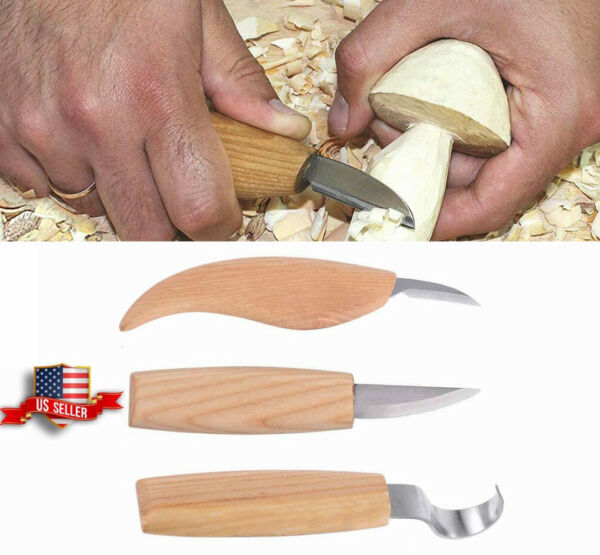 3Pcs DIY Wood Craft Carving Tool Set 155mm Cutter Knife Whittling Hook Kit