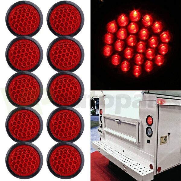10pcs Tail Light Reverse Backup Lamp Red 4 Inch Round 24 LED For Truck Trailer