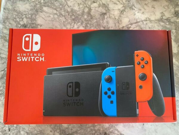 NEW Nintendo Switch V2 32GB CONSOLE W NEON BLUE & NEON RED JOY CON - IN HAND