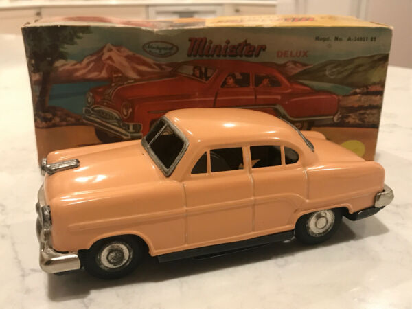 Minister Delux Pink Mechanical and Automatic Toy Car w Box Pontiac Tin RARE $124.88