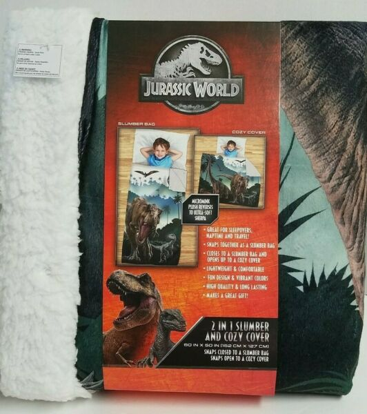 JURASSIC WORLD DINOSAURS 2 IN 1 PLUSH SLUMBER BAG COZY BLANKET COVER
