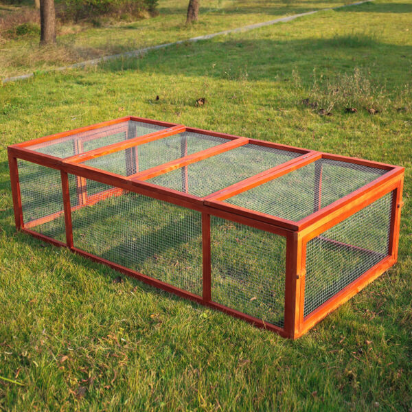 Wooden Rabbit Hutch with Run Pet Animal Cage Poultry Chicken Coop 71