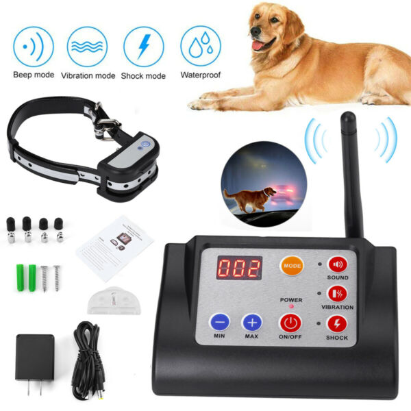 Wireless Electric Dog Fence Waterproof Containment System Shock Bark E Collar