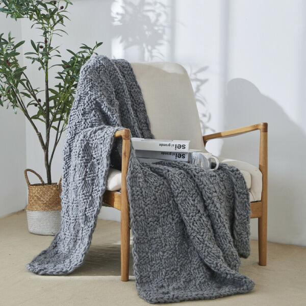 Reversible Knitted Chunky Blanket Home Decor Sofa Throws Couch Cover Nap Blanket