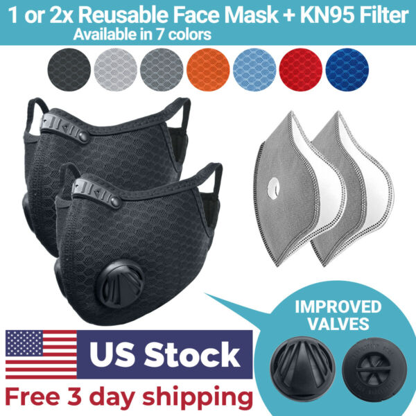 Cycling Face Mask with Activated Carbon Filter Valves Sports Reusable 1 amp; 2 Pack $7.99