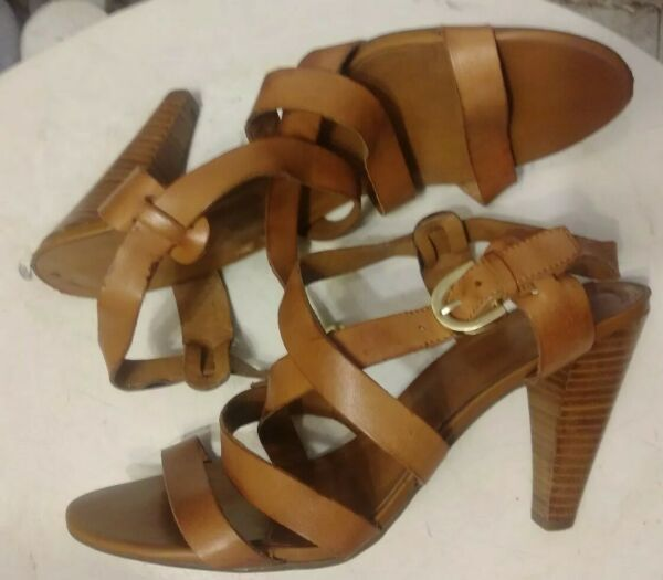 Brown Leather Strappy Wood stack Heels By Franco Sarto Size 7.5